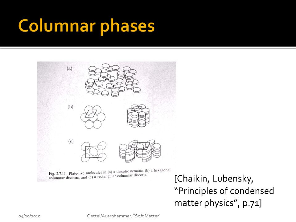 Columnar phases [Chaikin, Lubensky, Principles of condensed matter physics , p.71] 04/20/2010.